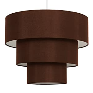 Modern 3 Tier Chocolate Brown Fabric Ceiling Pendant Light Shade