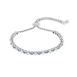 Silver Rose Gold or Gold Sterling Silver Cubic Zirconia Enamel Evil Eye Slider Tennis Bracelet (Silver)