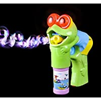 Light Up Frog Bubble Gun - Bubble Blowing Blaster With 2 Bottles Of Solution And Batteries