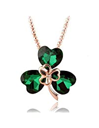 GirlZ! Austrian Crystal Three Petals Flower Pendant Necklace - Green