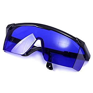 HDE Laser Eye Protection Safety Glasses for Red and UV Lasers with Case (Blue)