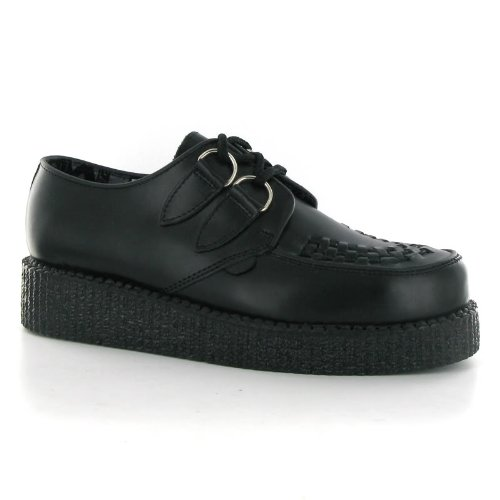 Underground Creepers Wulfrun Black Leather Womens Shoes Size 6 UK