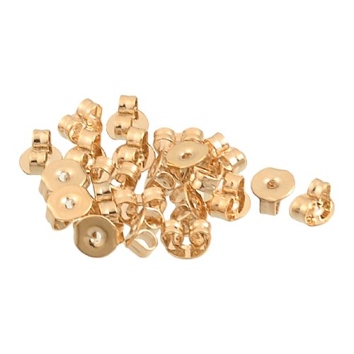Rosallini 20 Pcs Copper Tone Alloy Plate Ear Nuts Earring Backs for Ladies