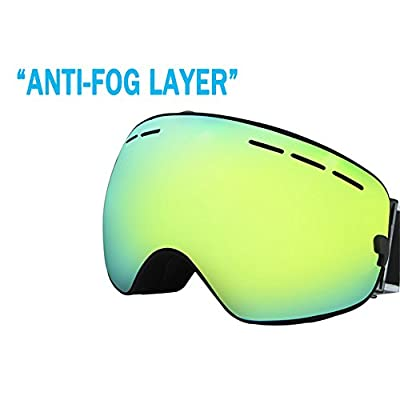 JUL Double Layer Large Spherical Snow Goggle Optical Spectacal compatible 100% UV Protection Anti Fog Ski Goggles Snowboard Goggles BNC