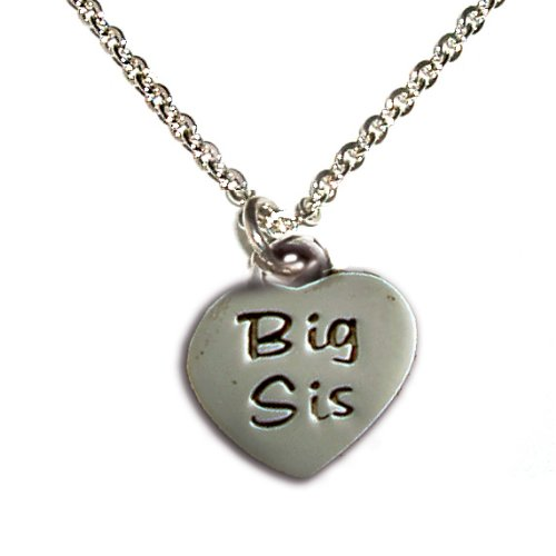 Sterling Silver Children's Big Sis Heart Charm Necklace for Girls in Gift Box, 14