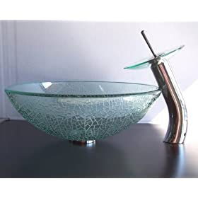 Bathroom Crackle Glass Vessel Sink + Chrome Faucet VFC4