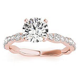 Women's Diamond Accented Engagement Ring Setting in 18k Rose Gold (0.33ct)