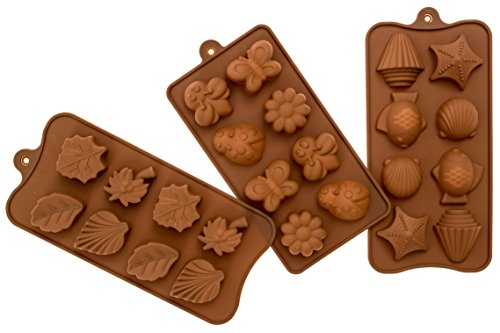 Candy Molds BPA-Free Silicone Mold For Chocolate, Soap, Jello and Ice Cube Trays-3 Pack Of Butterfly, Flower and Shell Shapes for Baking and Decorating Desserts for Christmas Parties and More