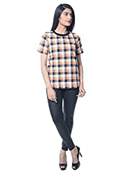 iamme Black and orange check tee in cotton