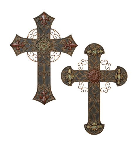 Deco 79 56543, Set of 2 Assorted Metal Wall Crosses, 22