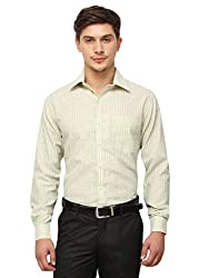 Copperline Yellow Striped Slimfit Fullsleeves Cotton Formal Shirts.