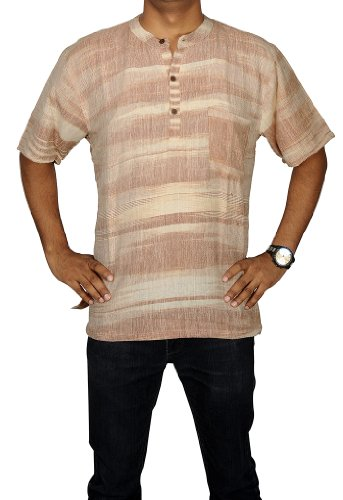 Hand Made Casual Wear Indian Striped Khadi Mens Short Kurta Fabric For Winter & Summers Size XL