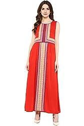 Akkriti by Pantaloons Women's A-Line Dress ( 205000005637650, Red, Small)