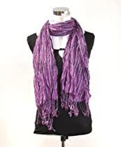 Metallic Checker with Added Wrinkle Cotton Scarf, Purple and Gray