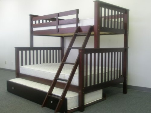 Bunk Bed Twin over Full Mission style in Cappuccino with Twin Trundle