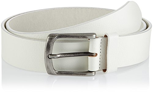 JACK & JONES Jaccbrad Leather Belt Noos, Cintura Uomo, Bianco (Bianco), 75 cm