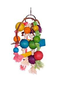 Liberta Rope and Wooden Balls Toy for Parrot, 25 cm, Multi-Coloured