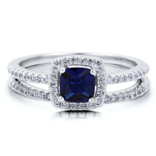 Cushion Sapphire Cubic Zirconia CZ Sterling Silver 2Pc Bridal Ring Set - Nickel Free Engagement Wedding Ring Set Size 6