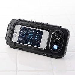 サンワダイレクト iPhone スマートフォン 防水スピーカー (スタンド機能付・2W・電池駆動) 400-SP036BK