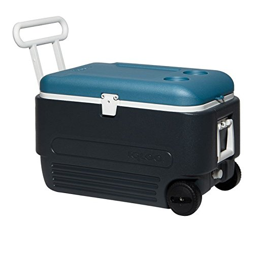 Igloo MaxCold Roller Cooler, Jet Carbon/Ice Blue/White, 60 quart (White Roller Cooler compare prices)