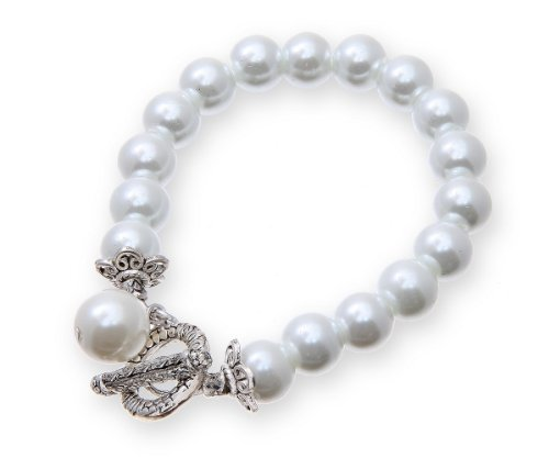 Pearl T-Bar Charm Bracelet Presented In Gift Box WHITE