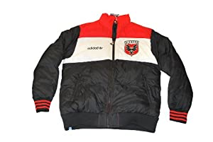 D.C. United Adidas Black White Red Authentic Zip Polyester Heavy Jacket (L) by adidas