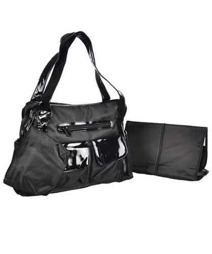 "Baby Essentials ""So Sleek"" 3-Piece Diaper Tote Bag Set - black, one size"