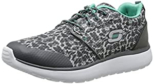 Skechers Women's Fancy Cure Fashion Sneaker,Charcoal/Aqua,9 M US
