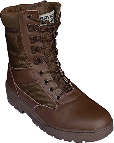 Stivali militari color marrone in pelle per esercito, combattimento, cadetti, militari, lavoro, sicurezza