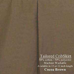 "15"" long Tailored CribSkirt Crib Dust Ruffle Cocoa Brown"