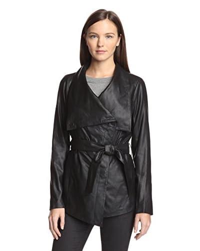 Elie Tahari Women's Claudette Leather Wrap Coat