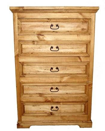 Rustic Western 5 Drawer Oasis Chest Of Drawers, Real Wood Dresser