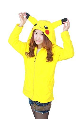 Adult Men Women Pikachu Unisex Anime Reborn Cosplay Costume Exotic Novelty Hoodies Zipper Sportswear Jacket Coat Sweatshirt Casual Sport Clothing Long Sleeve tops