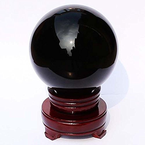 "I-Mart 2"" (50mm) Natural Black Obsidian Divination Sphere Crystal Ball with Stand"