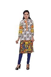 KIMYRAA Women's Cotton Kurta (KLK-1014-BLUE-S)