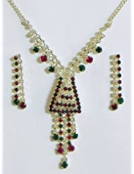 White, Maroon And Green Stone Studded Necklace And Earrings - Stone And Metal