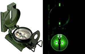 U.S. Issue Mil-Spec Tritium Illuminated Aluminum Military Lensatic Marching Compass by Rothco