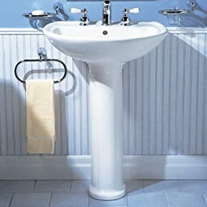 Bundle-85 Cadet Pedestal Sink (Set of 2) Finish: Bone, Drillings: Single-Hole