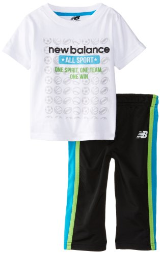 New Balance Baby-Boys Infant Jersey Graphic Print T-Shirt And Pants, Assorted, 12 Months