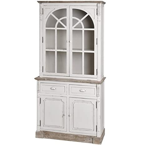 ANTIQUE WHITE GLAZED KITCHEN DRESSER DISPLAY CABINET SHABBY CHIC HAMPTON (H13404)