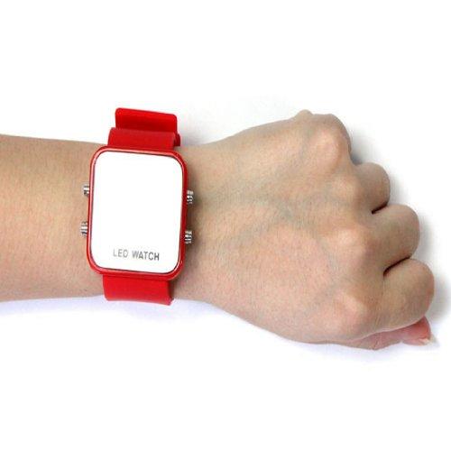 2014 Susenstore Mini Led Digital Calendar Day/Date Silicone Sport Mirror Faceless Men Lady Watch