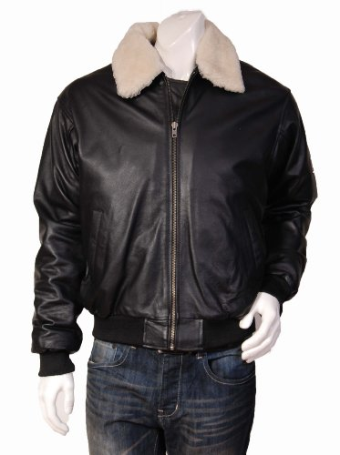 Mens Top Gun Aviator Style Bomber Leather Jacket Viggo Black (M)