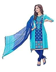 RK Fashion Womens Cotton Un-Stitched Salwar Suit Dupatta Material ( MITTAL-SANAM-7017-Blue-Free Size )