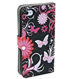 (TRAIT) Black Back Butterfly PU Leather Wallet Cases Protective Skin Protector Covers for iphone4 4S 4G Flip Case Folio Cover Stand Holder with Card Port