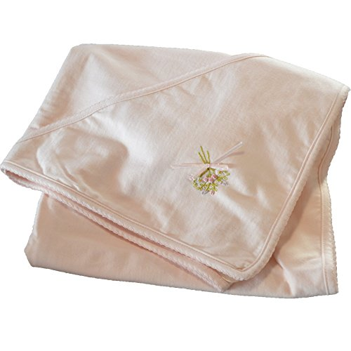 Boutique Collection Baby Girls Roses Hand Embroidered Receiving Blanket with Hood. - 1