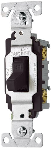 Cooper Wiring Devices Cs120Bk 20-Amp 120/277-Volt Commercial Grade Single Pole Compact Toggle Switch With Side Wiring, Black Color