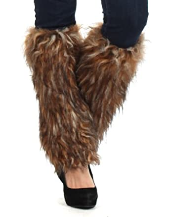 eh3231wl two tone faux fur leg warmers boot covers