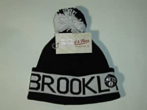 Mitchell and Ness NBA Brooklyn Nets Vintage Block Cuffed Knit Hat Pom Beanie by Mitchell & Ness