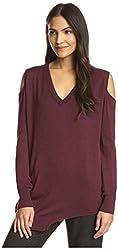 SEN Women's Cold Shoulder Sweater, Burgundy, 1/XS US