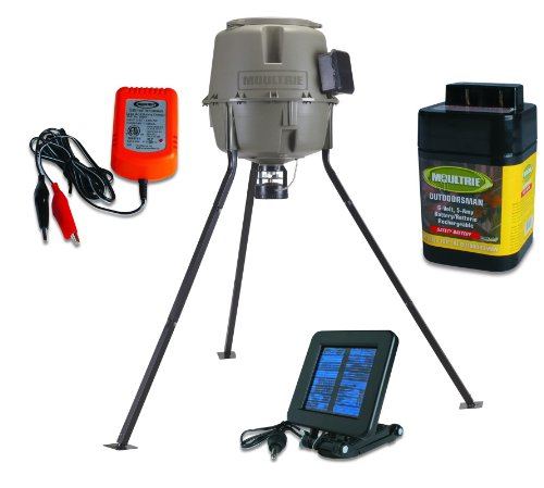 MOULTRIE 30 Gal EZ Fill Quick Lock Tripod Feeder w/Battery,Charger & Solar Panel